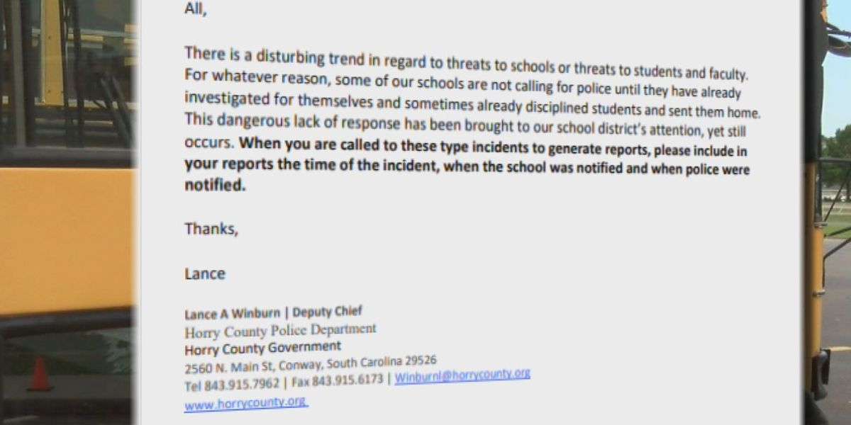 'Disturbing trend': Horry County police email reveals issues with schools reporting threats
