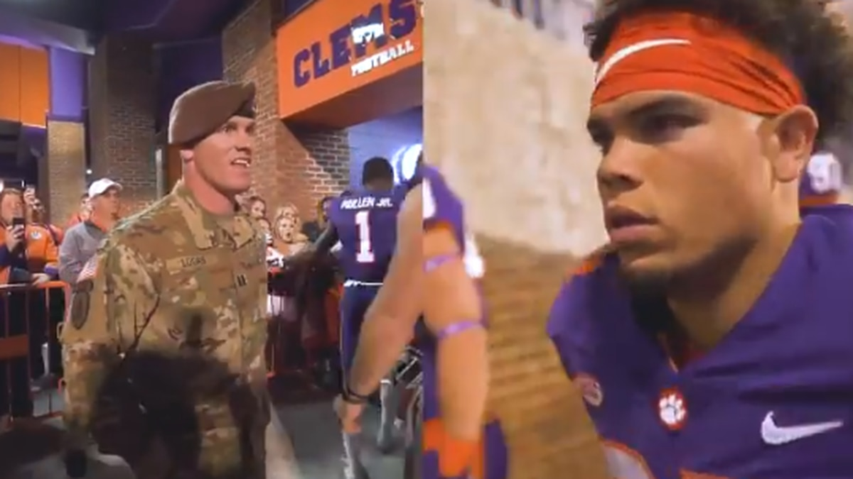 VIDEO: Clemson RB gets surprise reunion with soldier dad at game
