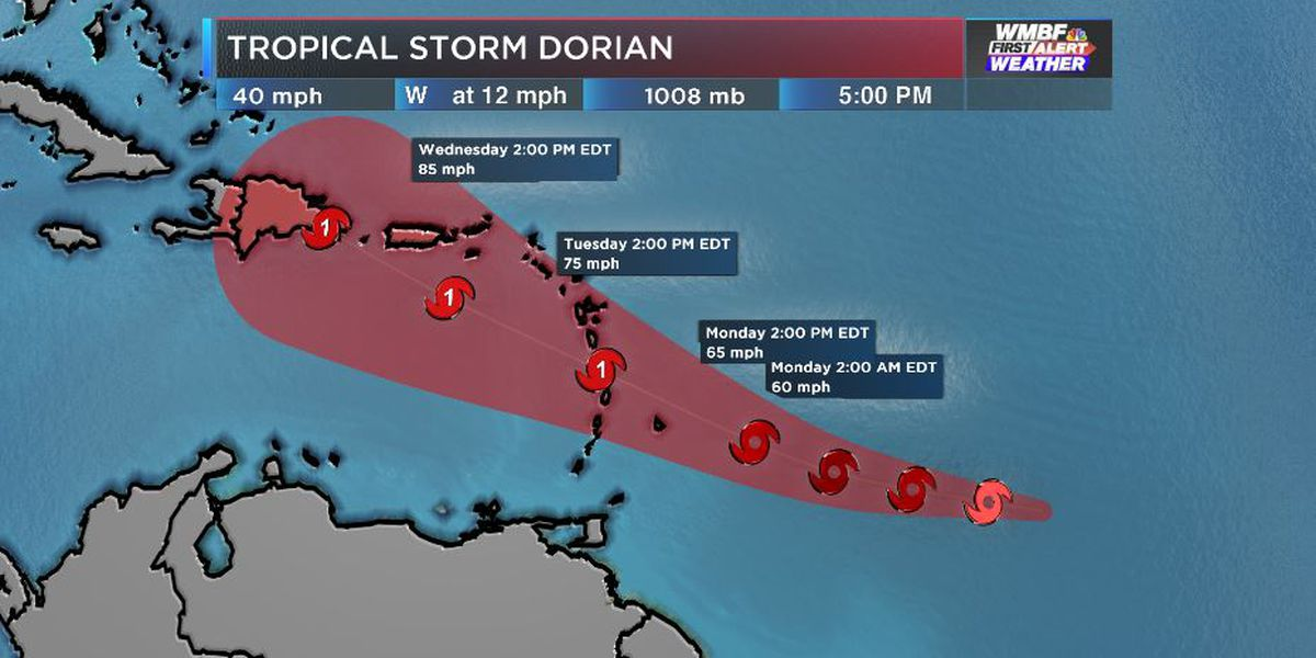 FIRST ALERT: Tropical Storm Dorian officially named in the Atlantic