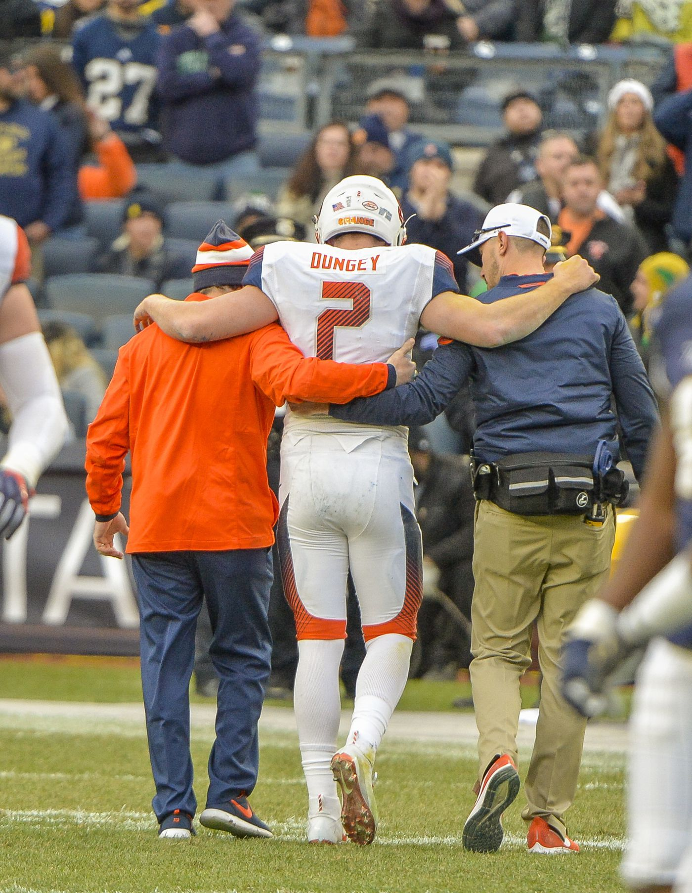 5b33d931d Syracuse quarterback Eric Dungey (2) is helped off the field after he was  injured