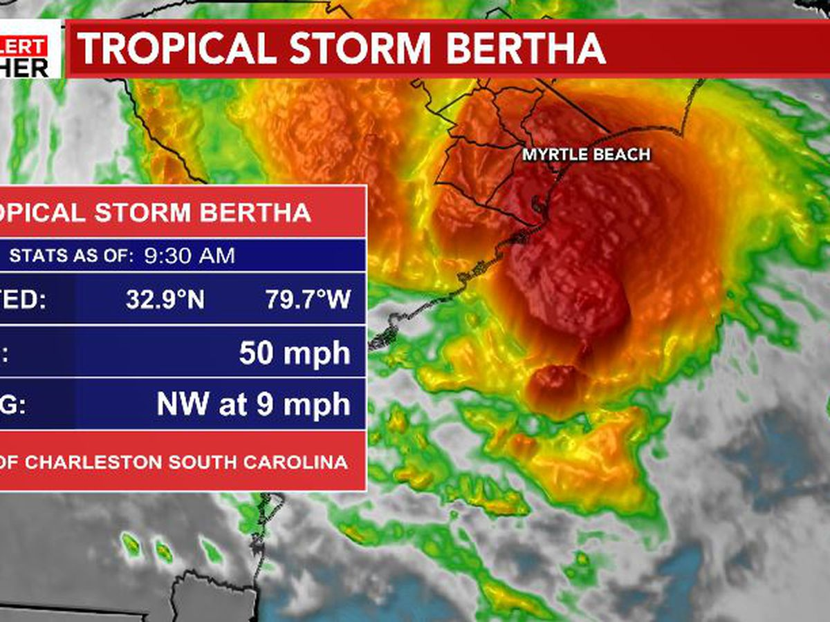 FIRST ALERT: Bertha dropping heavy rain in SC, Flood Advisory now in effect for some areas