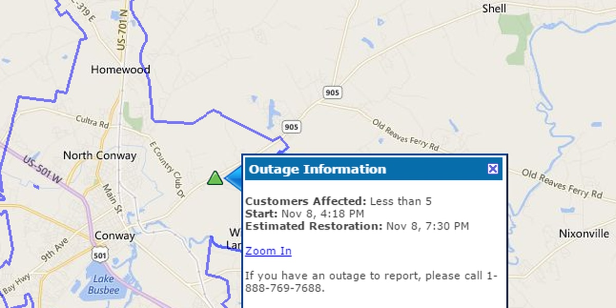 UPDATE: Power restored in Conway area impacted by outage