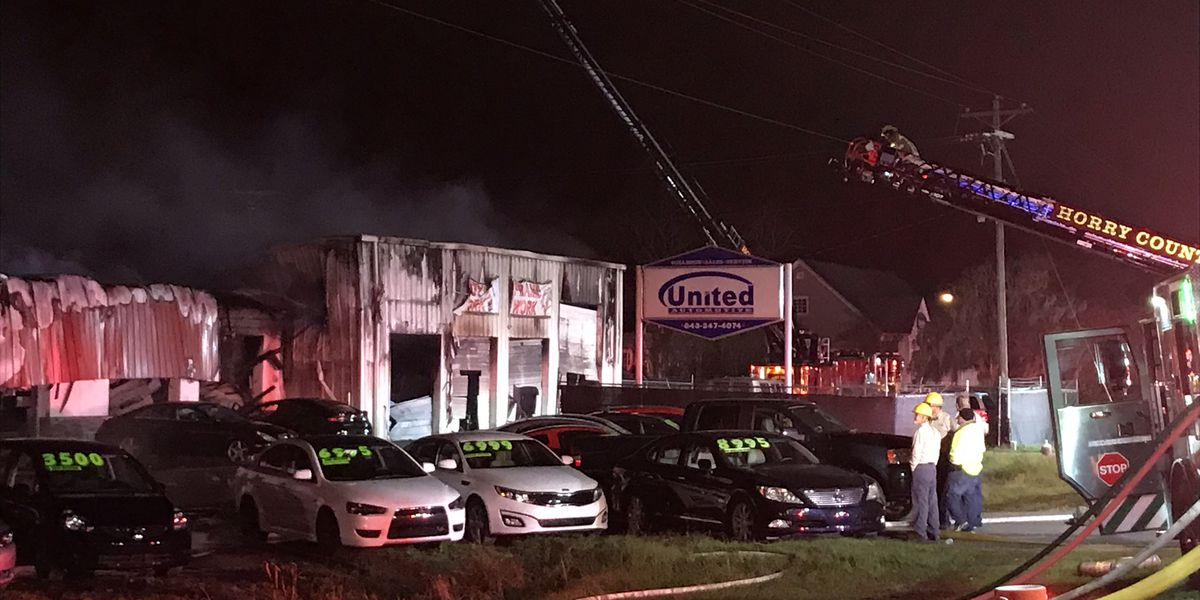 Auto dealership severely damaged in overnight fire on Hwy. 501