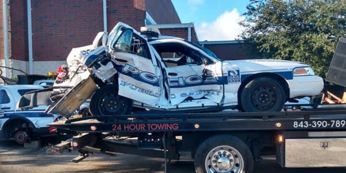 Truck slams into North Myrtle Beach police cruiser on S.C. 31 while officer investigates crash