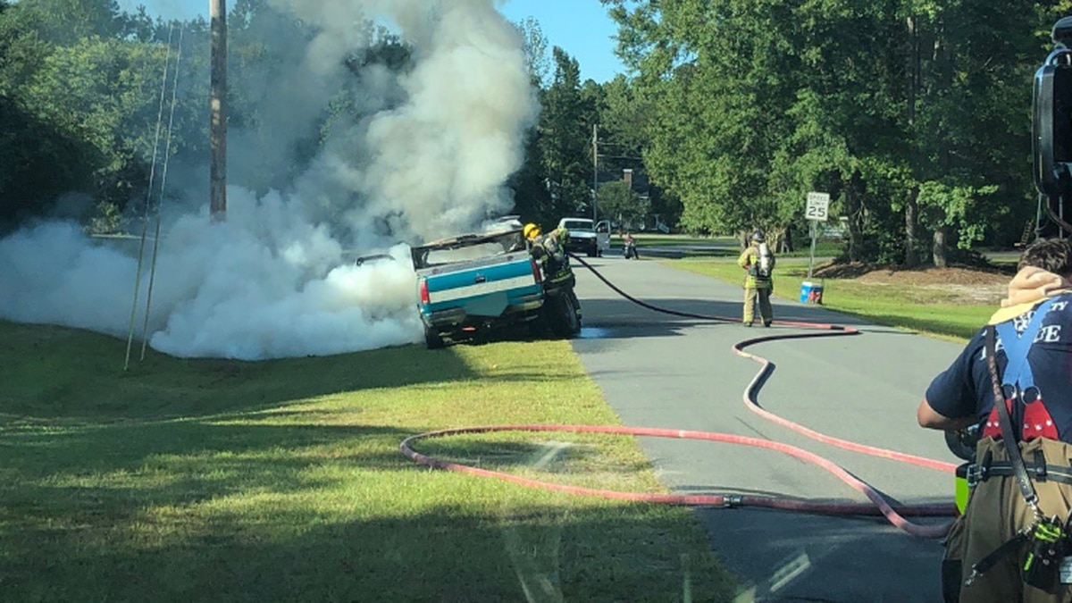 Vehicle catches fire on Highway 90