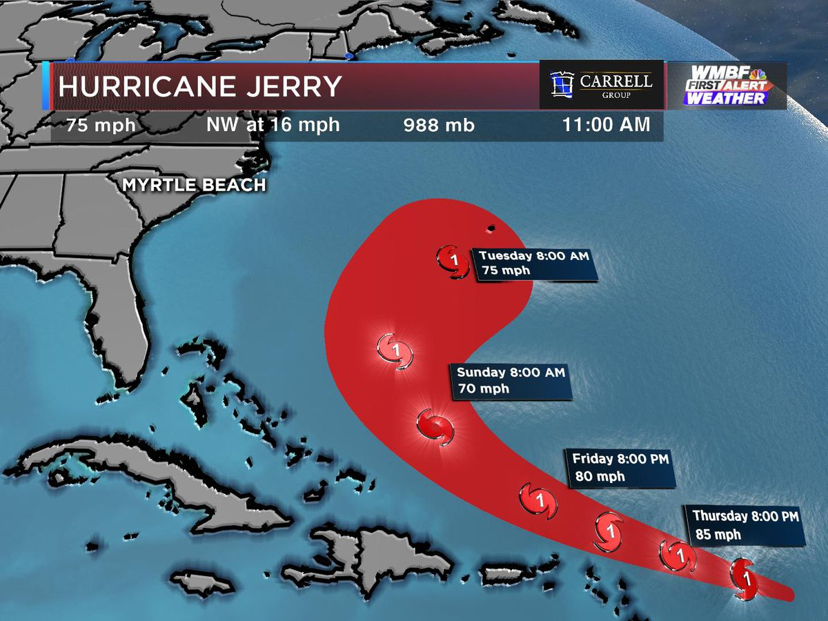 FIRST ALERT: Jerry now a hurricane, Humberto moving away from Bermuda, Imelda drenching Texas