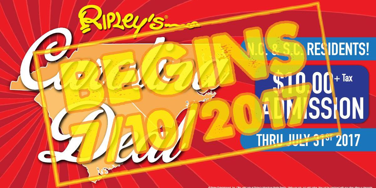 Ripley's Attractions of Myrtle Beach announce return of 'Carolina Deal Days'