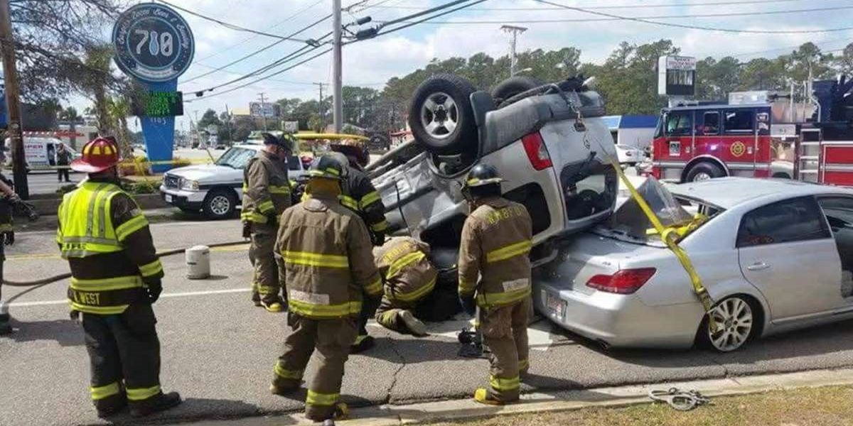 Driver rescued from upside-down car following crash in North Myrtle Beach