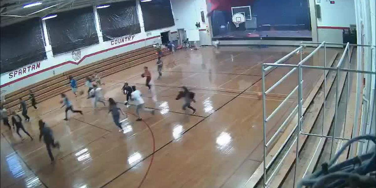 School camera captures moment roof collapses into gymnasium during storm