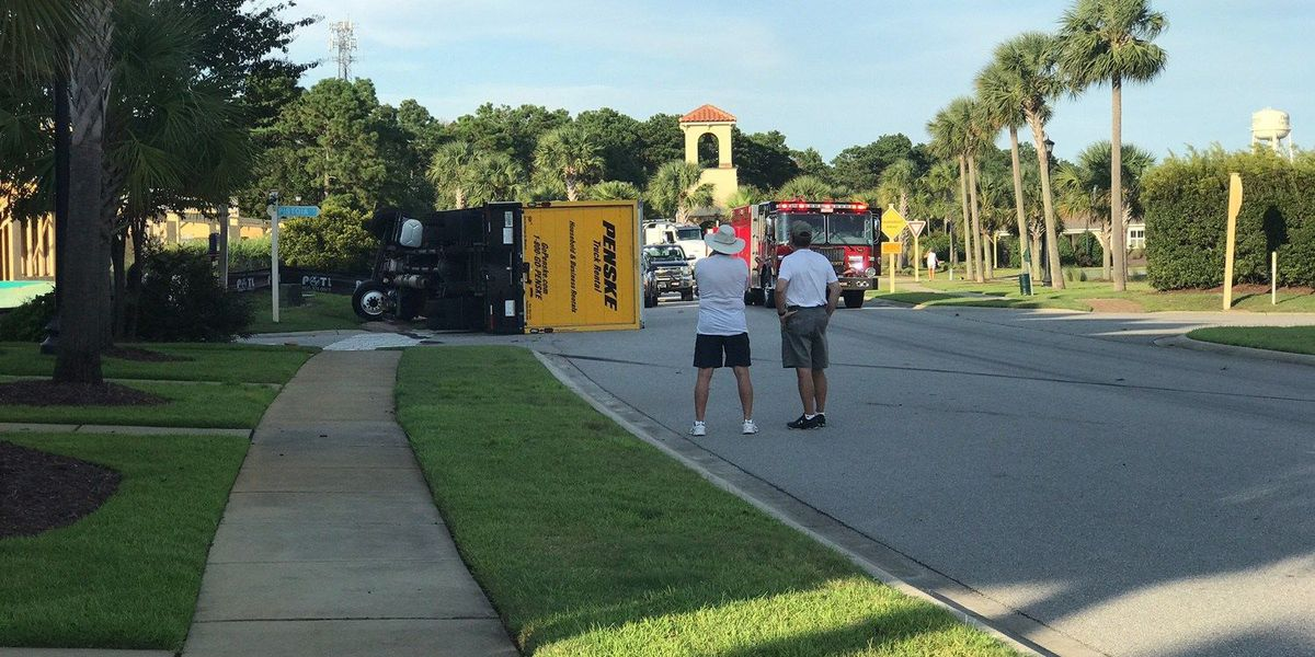 Injuries reported after box truck overturns in Forestbrook area