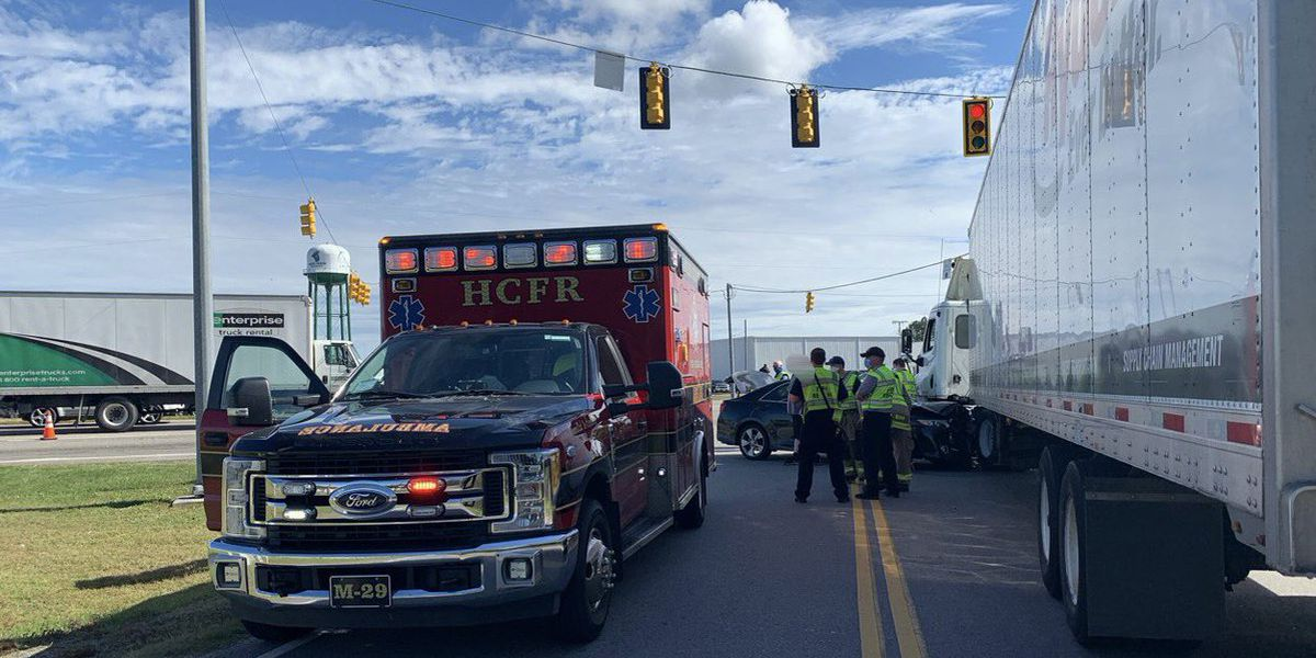 Crews work crash involving 18-wheeler on E. Cox Ferry Road, Highway 501
