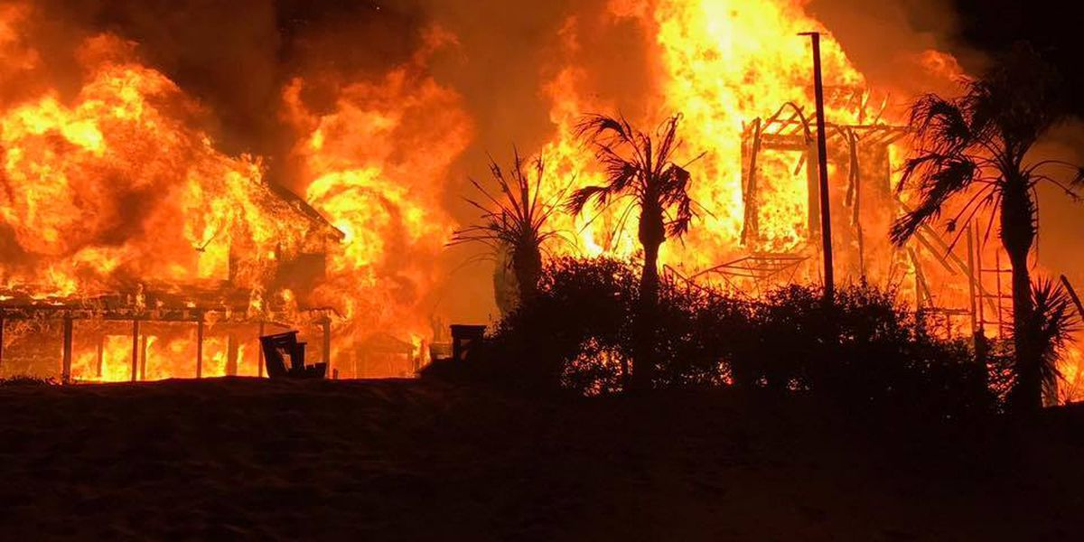 Two beach houses destroyed, one damaged by three-alarm fire in Pawleys Island