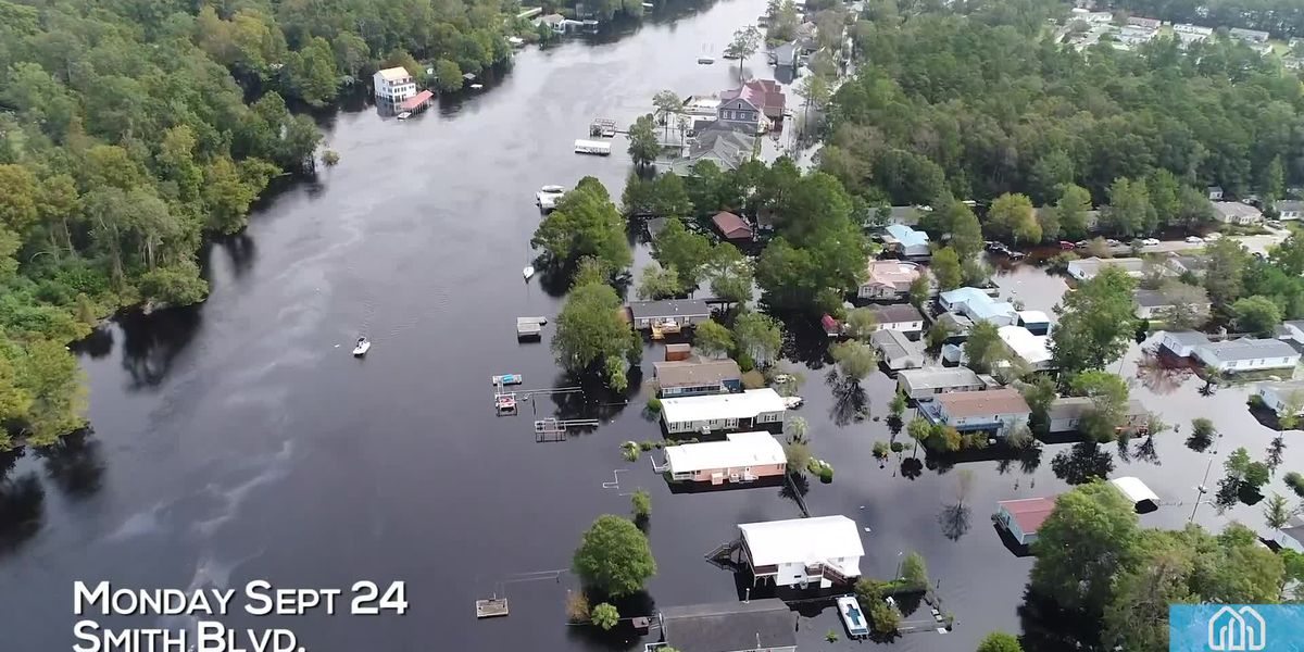 Drone footage shows flooding in Socastee over three day period
