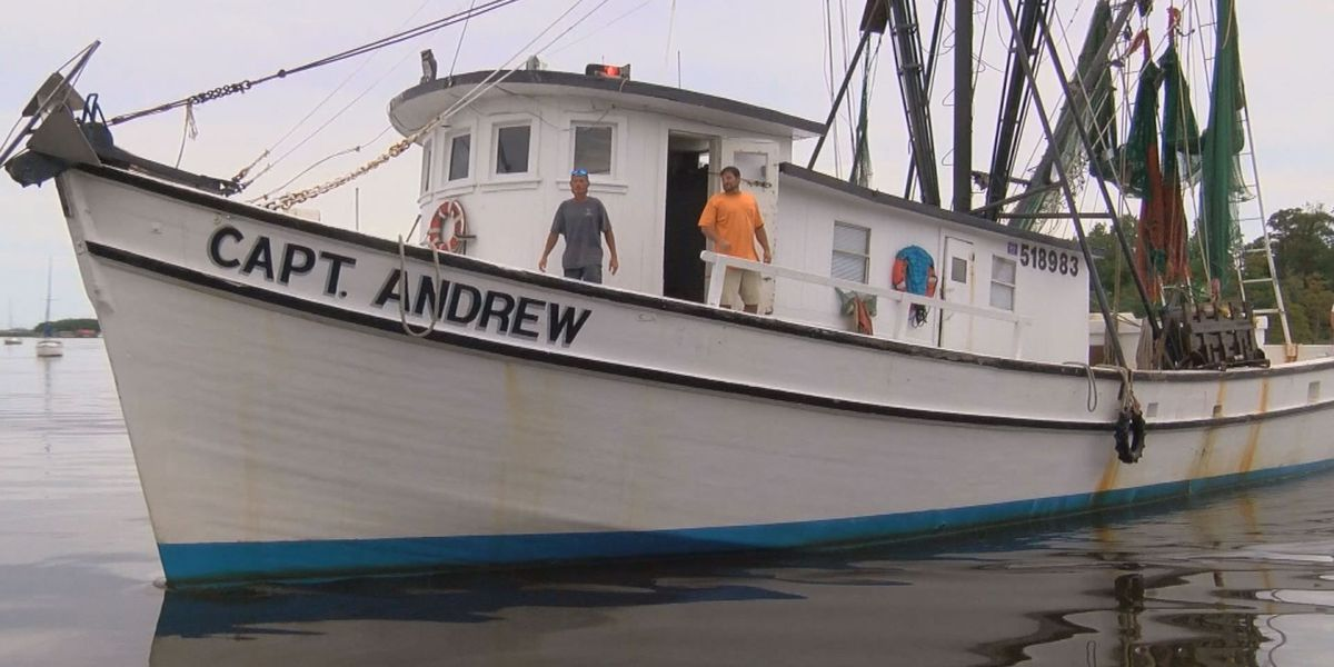 Shrimping crew rescues two men from sinking boat two miles off shore