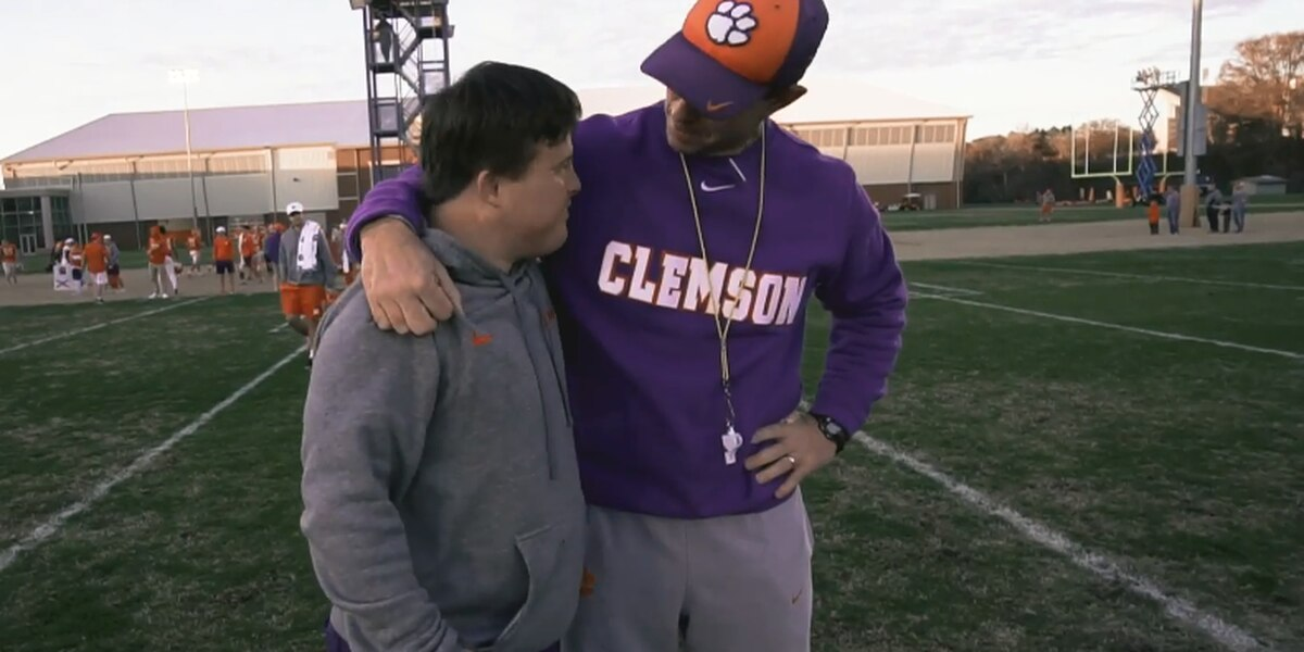 WATCH: Swinney presents Tigers' beloved equipment manager with two Super Bowl tickets