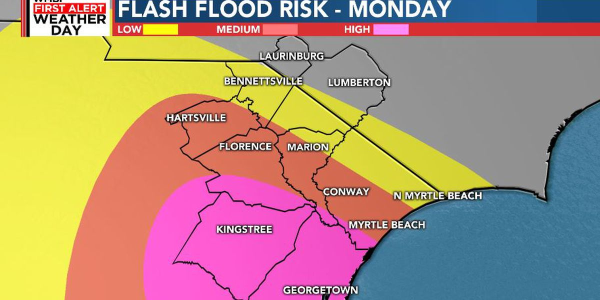 FIRST ALERT WEATHER DAY: FLASH FLOOD WATCH, heavy rain and gusty winds to continue