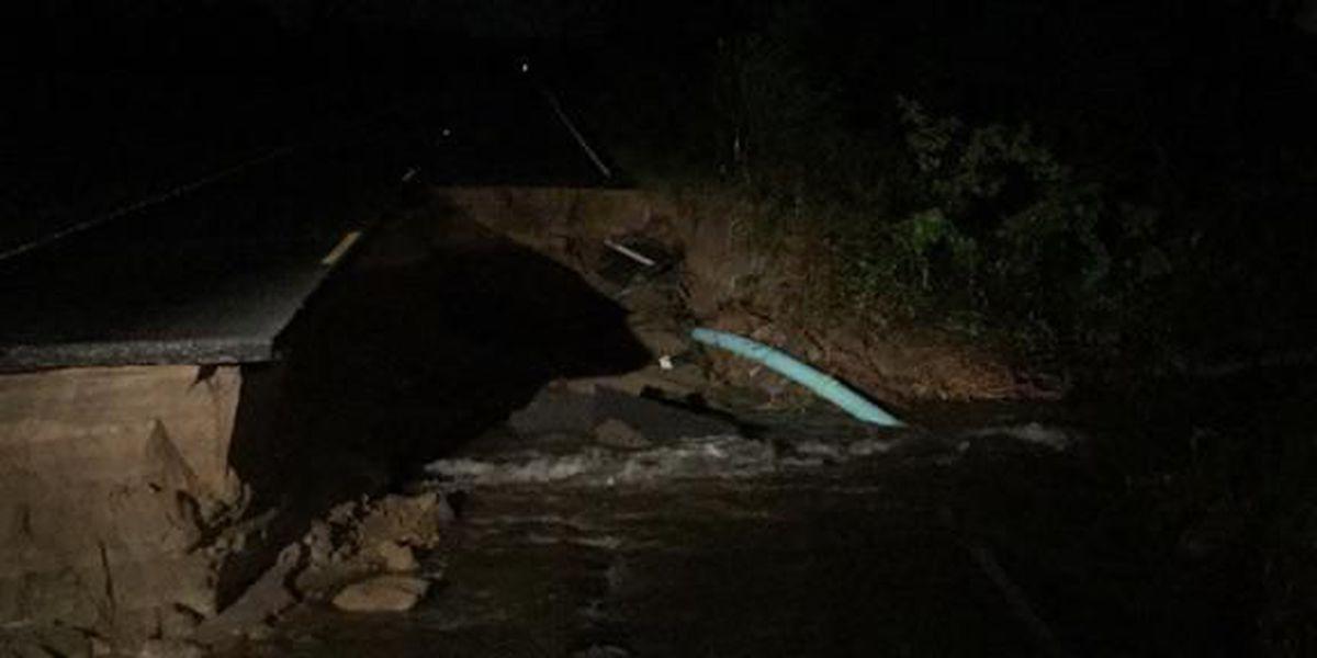 Law Plantation Road complete washout