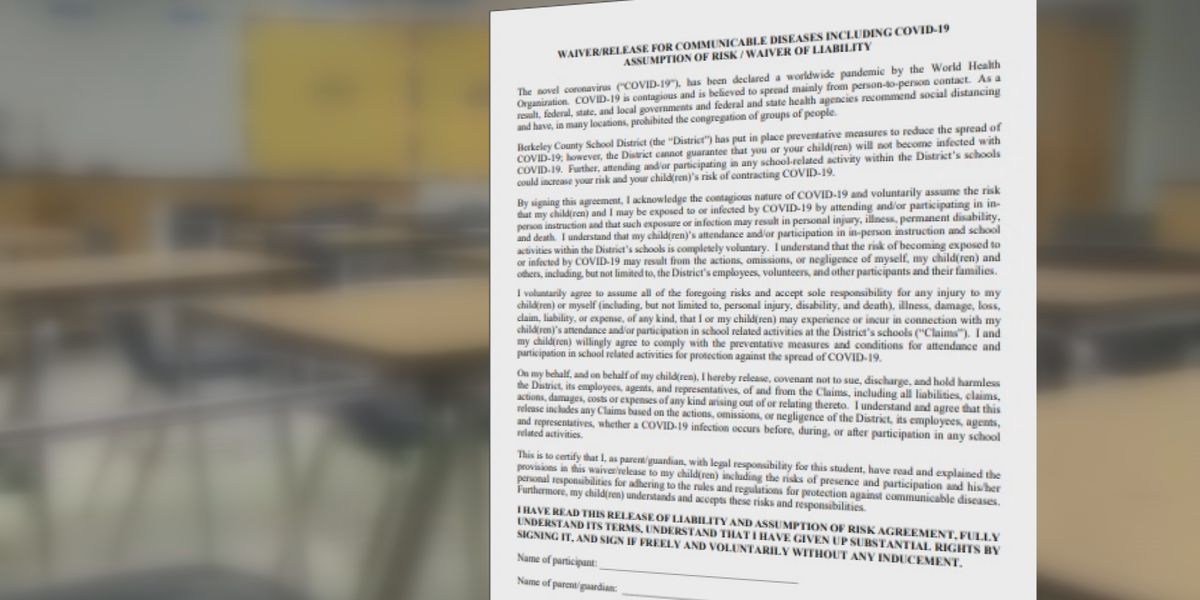 Berkeley Co. School District requires parents to sign COVID waiver for in-person instruction