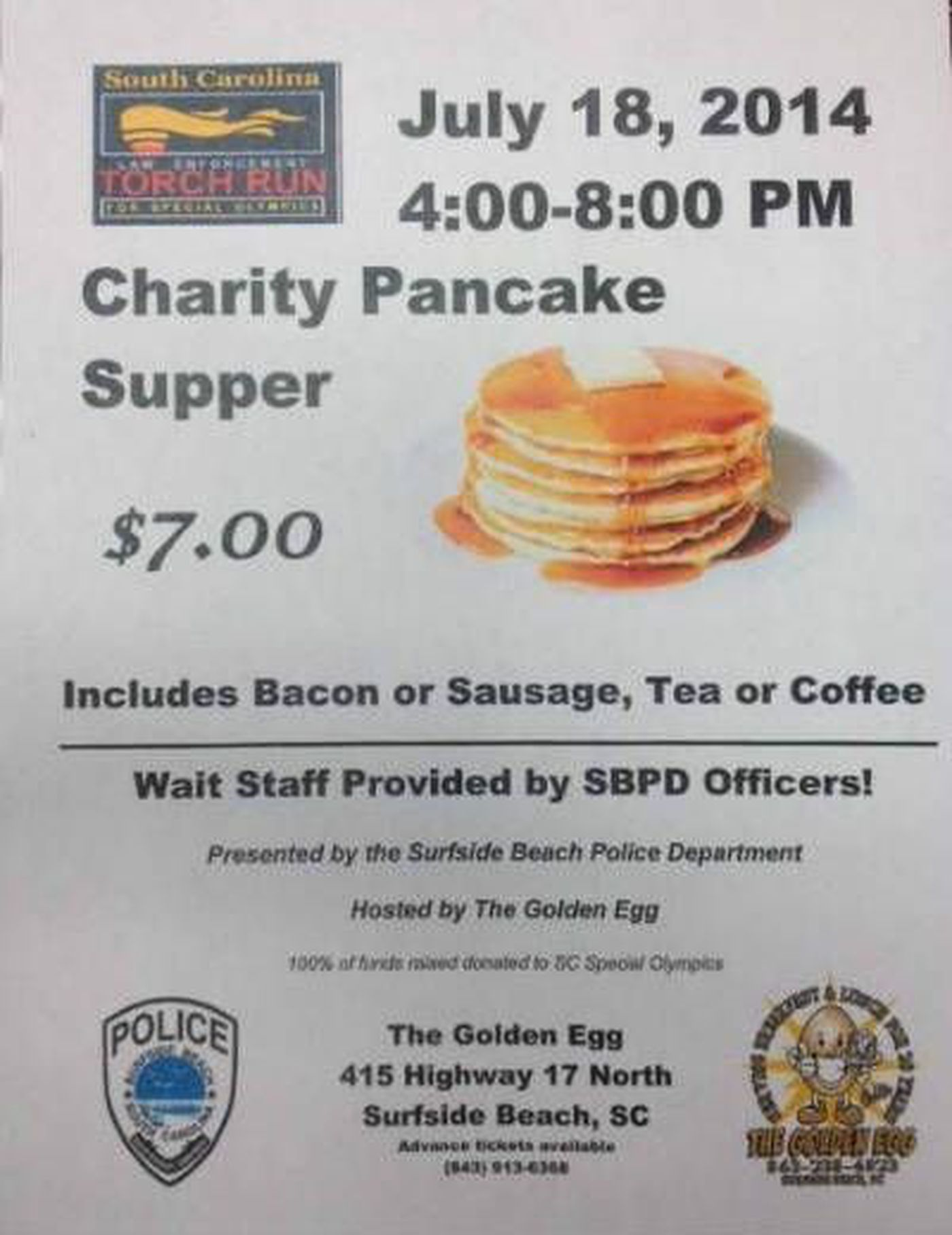 SBPD and Golden Egg host pancake supper for Special Olympics