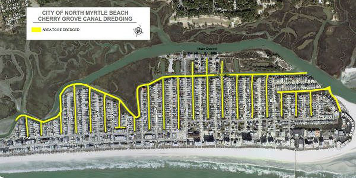 Canal map proposed for Cherry Grove Canals Dredging Project.
