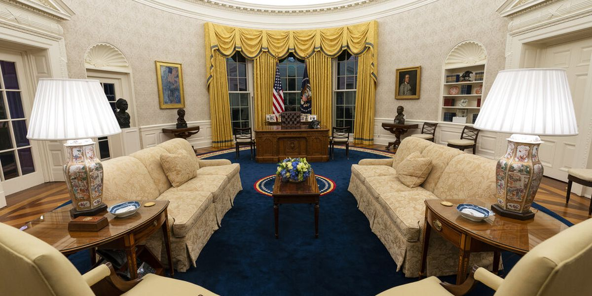 New president brings a slightly new look to Oval Office