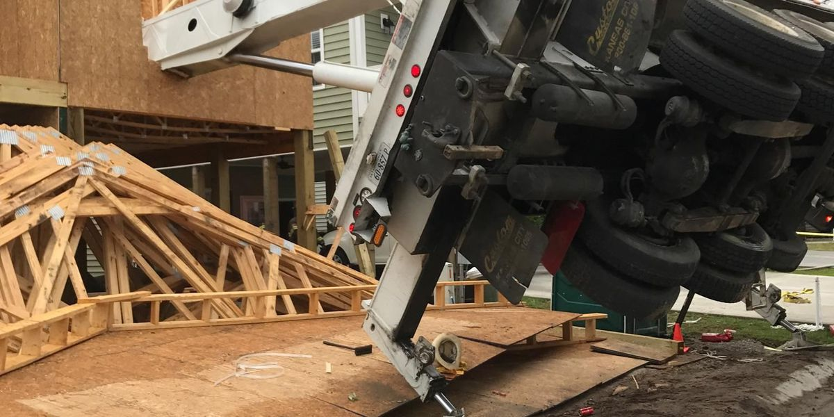 Crane collapses onto house under construction in North Myrtle Beach