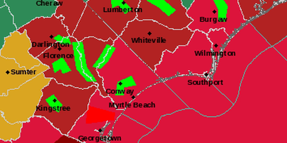 Tornado warning issued for central Georgetown County