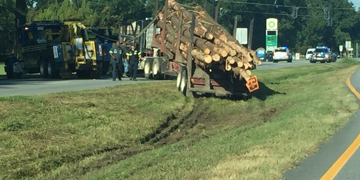 Log truck runs into ditch, delays traffic