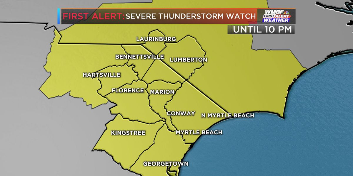 FIRST ALERT: Severe thunderstorm watch in effect for Grand Strand, Pee Dee