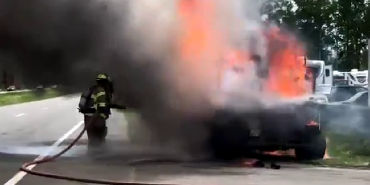 WATCH: Crews battle vehicle fire on Highway 9 in Longs