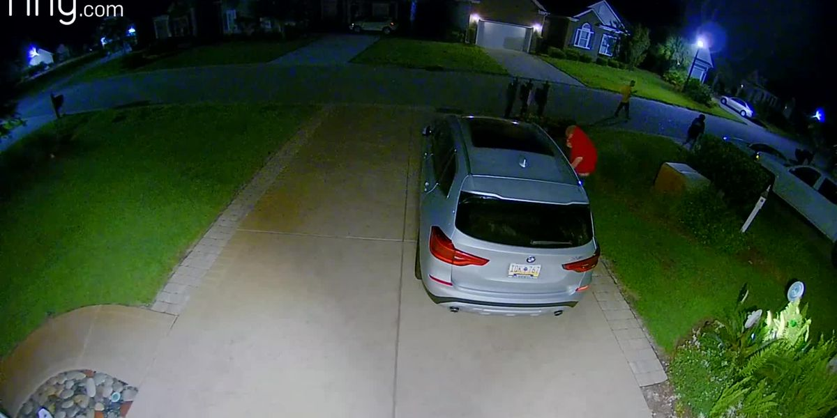 VIDEO: Surveillance shows three people checking car doors near Murrells Inlet