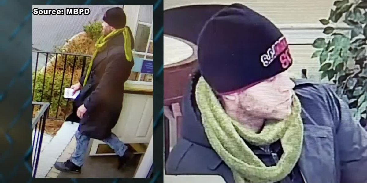 MBPD releases pictures of man believed to be involved in First Citizens Bank robbery