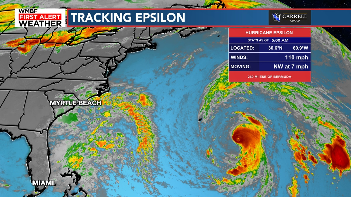 FIRST ALERT: Hurricane Epsilon will pass east of Bermuda