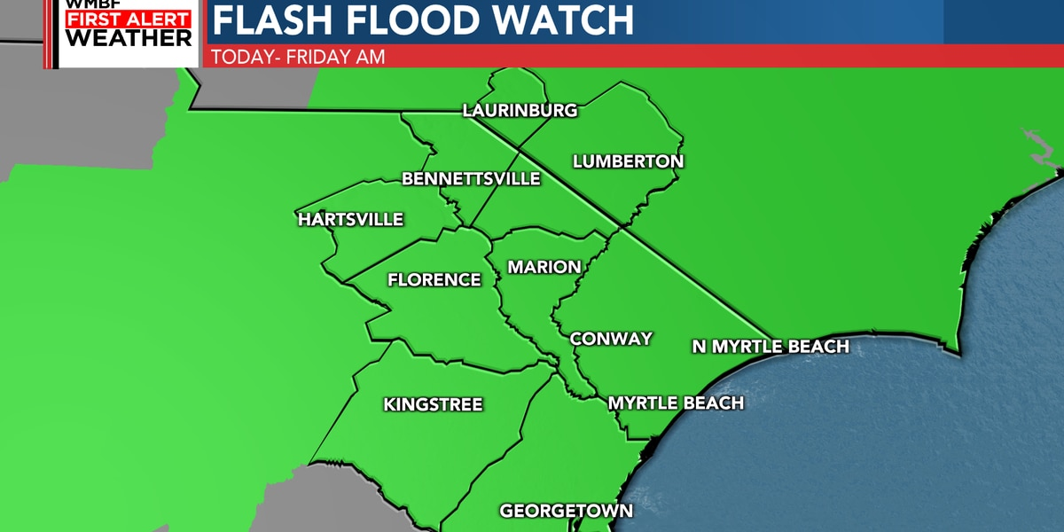 FIRST ALERT: Flash Flood Watch issued, soggy forecast over next 36 hours