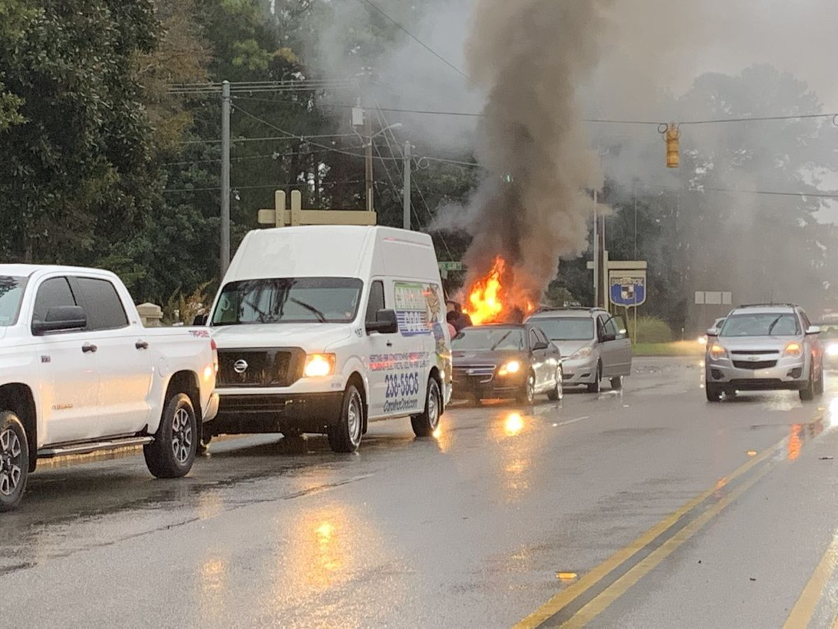 Vehicle goes up in flames after crash on S.C. 544
