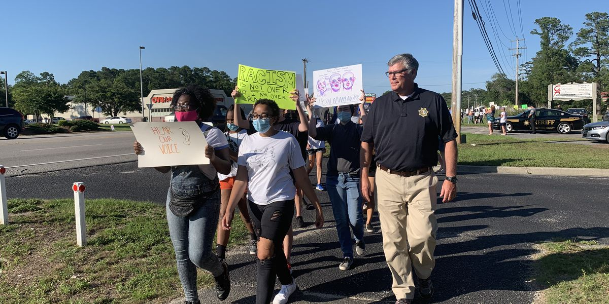 High school student, Georgetown County sheriff lead peaceful march in Pawleys Island