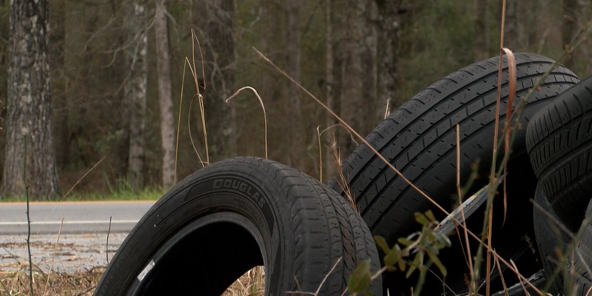 Tires dumped on side of road could cost taxpayers