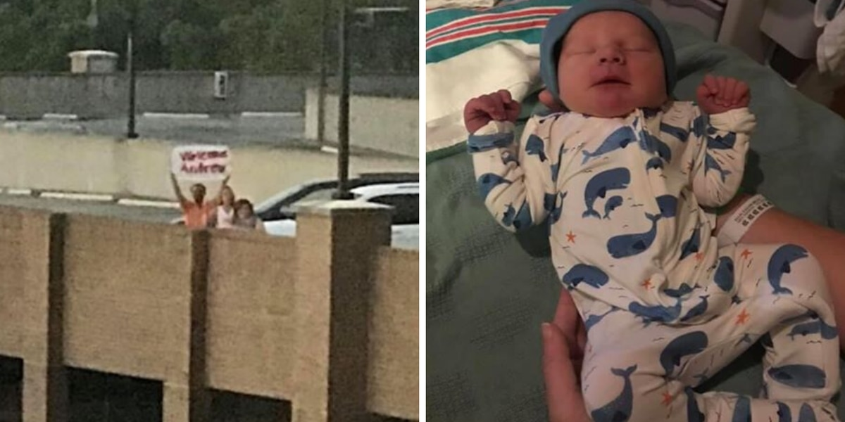 'We just camped out': Florence couple welcomes first grandchild from parking deck roof