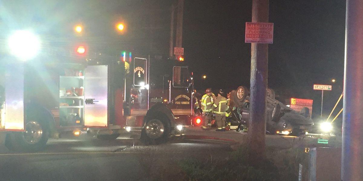 Claypond road crash sends 6 to hospital