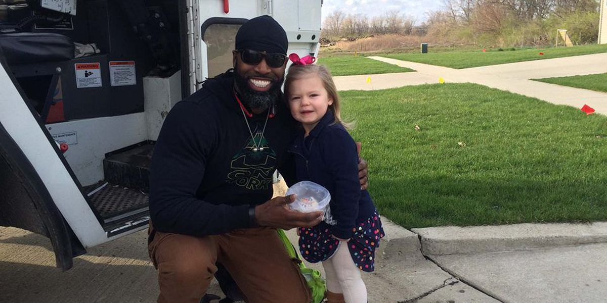 Illinois garbage man makes young girl's day