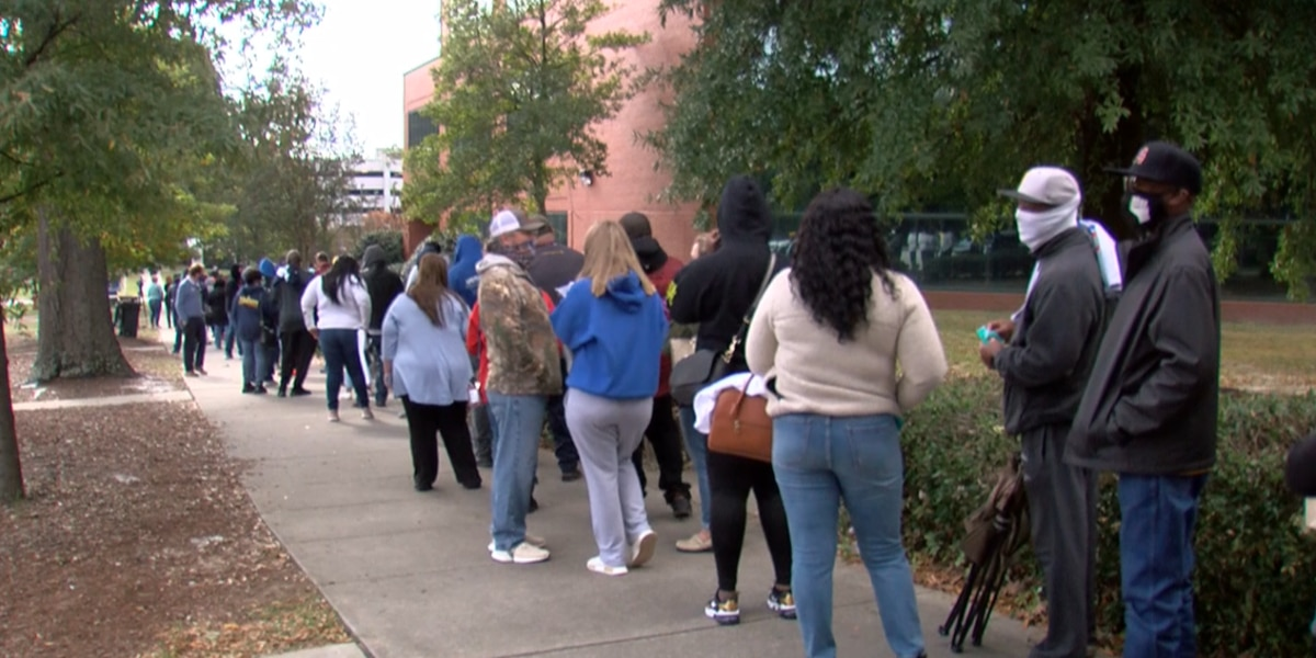 South Carolina voters wait in long lines Saturday before Election Day