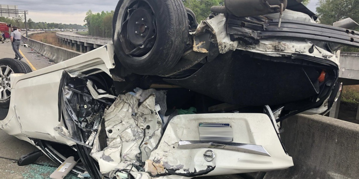 1 injured after vehicle overturns on Highway 22