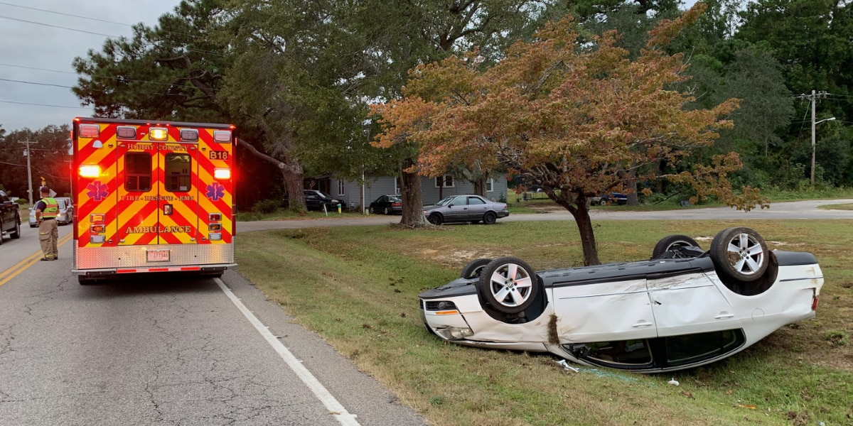 Two-vehicle crash in front of NMB Christian School leaves one car flipped over, one injured