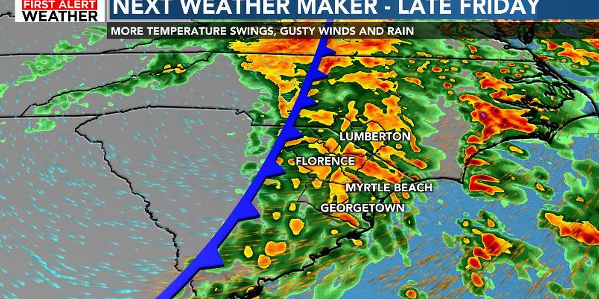 FIRST ALERT: Rain, strong winds, thunderstorms possible late Friday