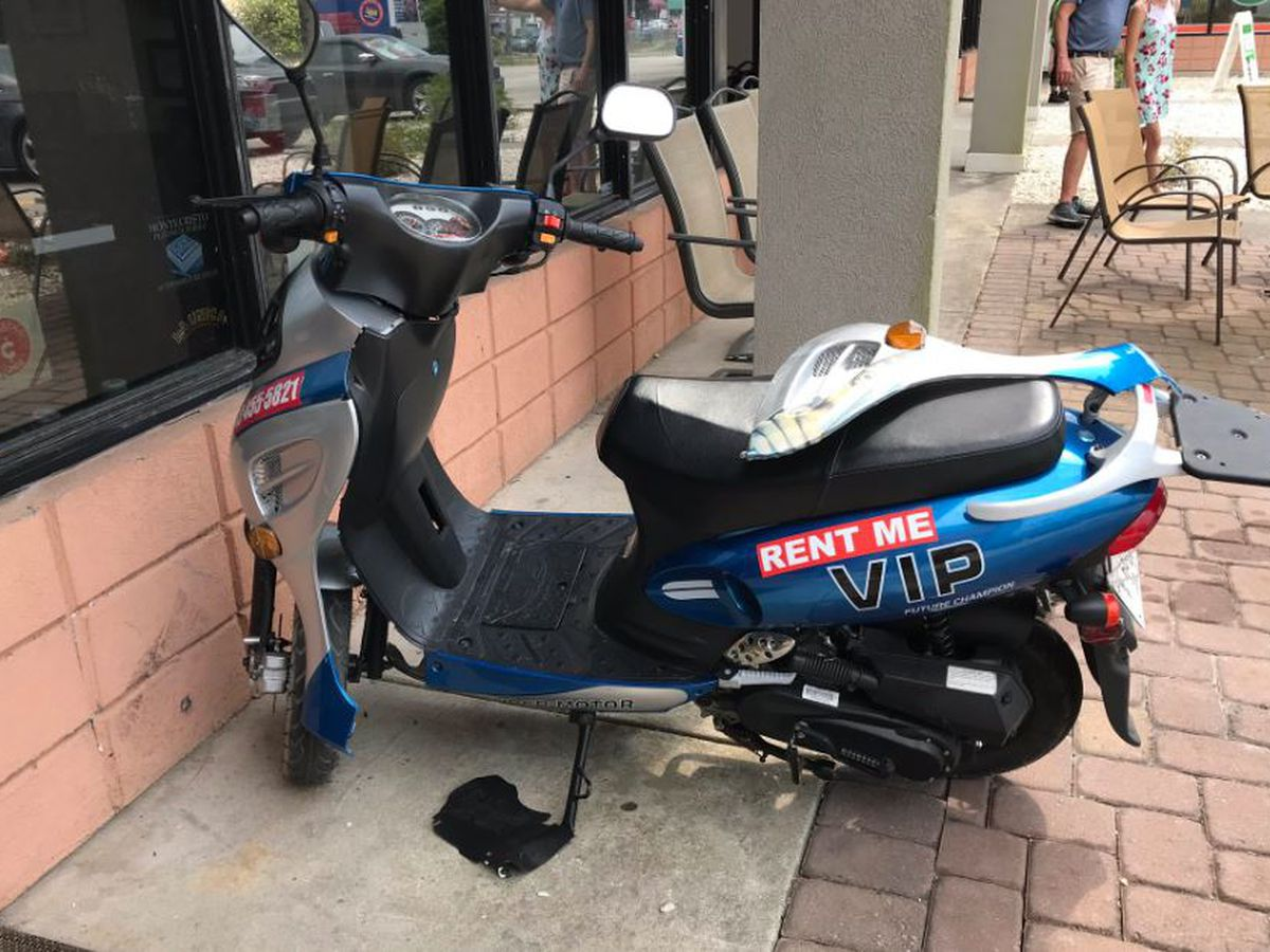Driver okay after moped runs into North Myrtle Beach building