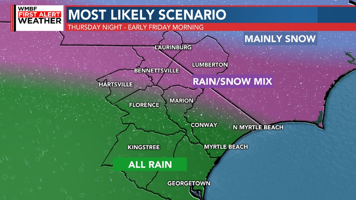 FIRST ALERT: Rain may briefly change to snow Thursday night