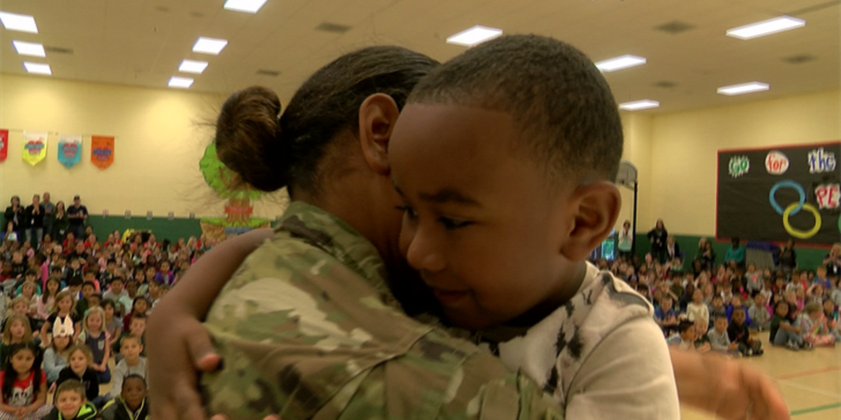 Mother on leave from Gitmo surprises son for his birthday