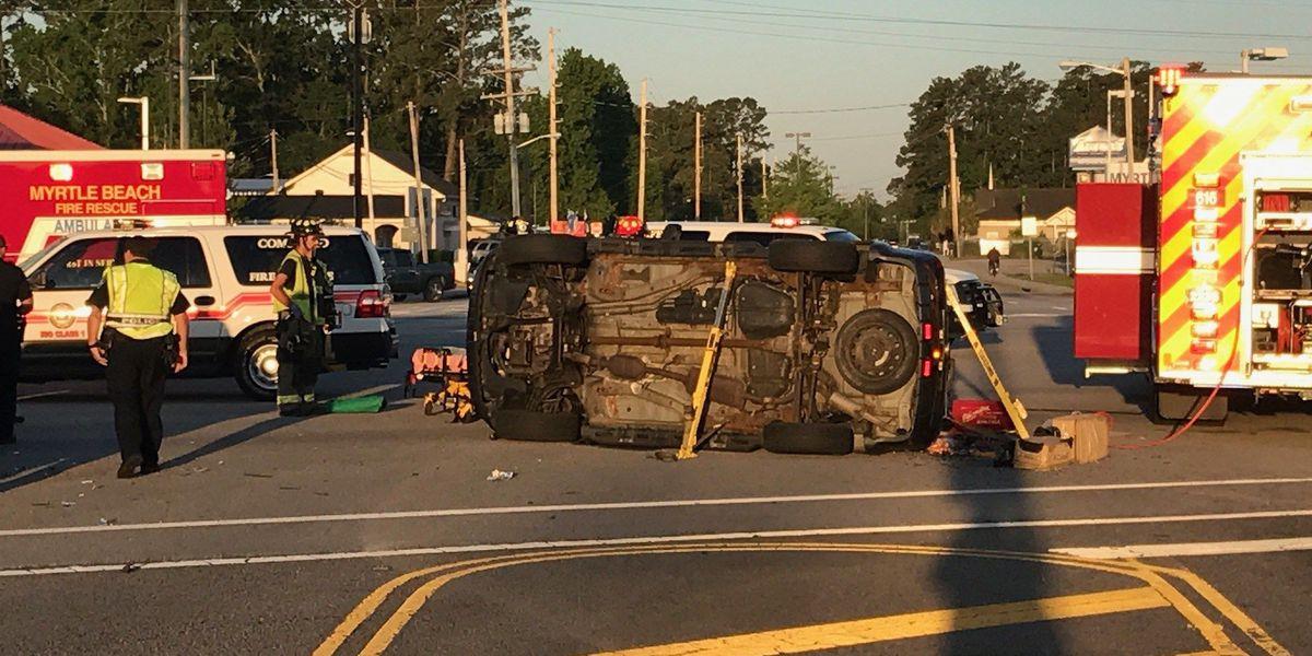 Scene clear after overturned car blocks Hwy. 501 at Robert M. Grissom Pkwy.