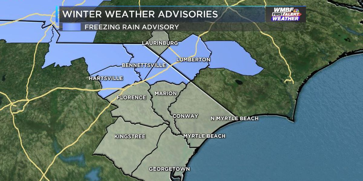 Freezing rain advisory issued for Darlington, Marlboro, Dillon and Robeson counties
