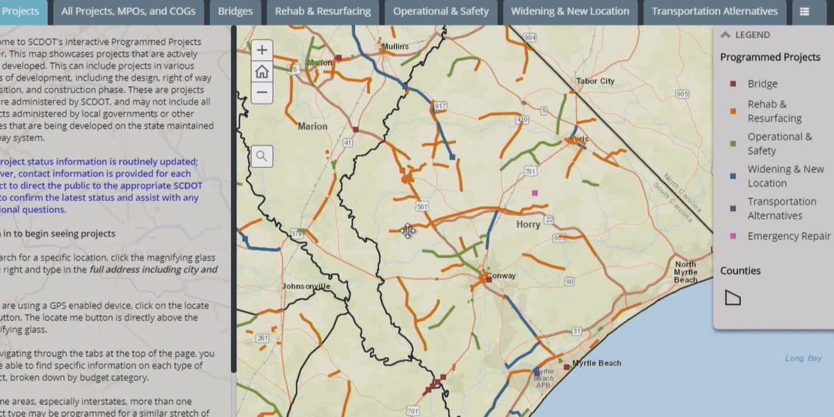 Track road construction with SCDOT's project map